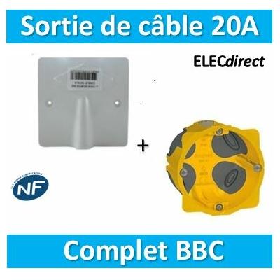 SIB - Sortie de câble 16/20A - à vis dim. 80x80 + boîte Legrand batibox BBC - P11016+080021