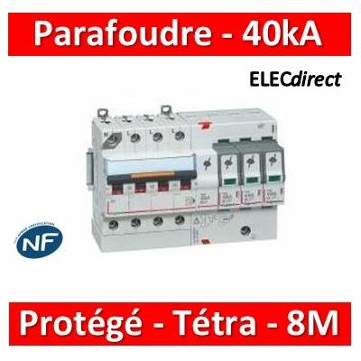 Legrand - Parafoudre basse tension T2, protégé - Imax 40 kA/pôle- 3P+N- Icc ≤4,5kA- 8 mod - 412205