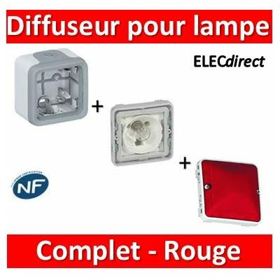 Legrand - Diffuseur rouge - gris - pour lampe E10 - 230 V - 069583+069651+069591