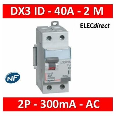 Legrand - Inter diff DX³-ID - vis/vis - 2P- 230V~-40A - type AC - 300mA - départ bas - 2M - 411525