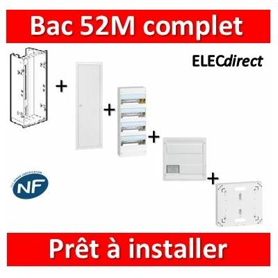 Legrand - Bac métal 1 travée 52M + tableau 52M + VDI 8RJ45 + Platine disjoncteur + Porte