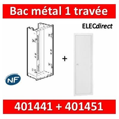 Legrand - Bac métal 1 travée Drivia 13 - coffret 2R + platine + coffret com. + porte - 401441+401451