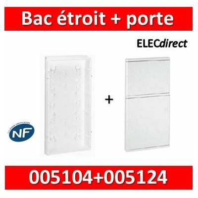 Legrand - Bac étroit isolant - GTL encastré - pour coffret 2 rangées + platine ép. 45 mm + porte - 005104+005124