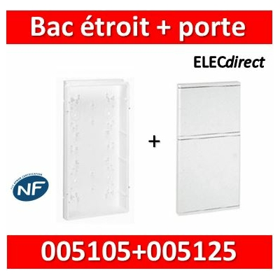 Legrand - Bac étroit isolant + porte- (pour coffret 3 rangées + platine ép. 45 mm) +  005105+005125