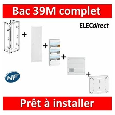 Legrand - Bac métal 1 travée 39M + tableau 39M + VDI 8RJ45 + Platine disjoncteur + Porte