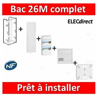 Legrand - Bac métal 1 travée 26M + tableau 26M + VDI 8RJ45 + Platine disjoncteur + Porte