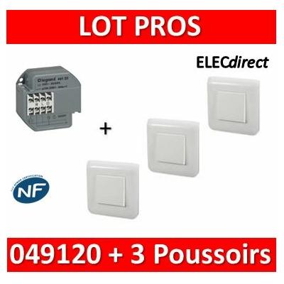 Legrand - Télérupteur - Unipolaire 16A + 3 Poussoirs Mosaic - 049120+077040x3+078802x3-080251x3