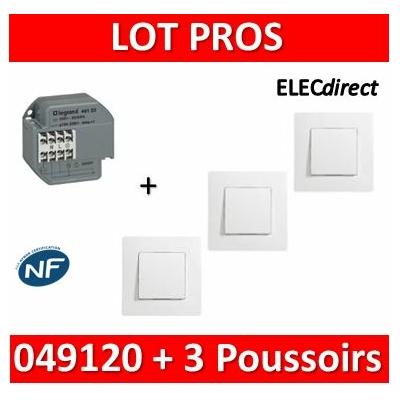 Legrand - Télérupteur - Unipolaire 16A - 230V + 3 Poussoirs Niloé - 049120+664705x3+665001x3