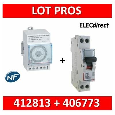 Legrand - Interrupteur horaire journalier analogique avec réserve de marche + disjoncteur 10A - 412813+406773