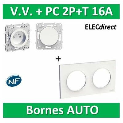 Schneider Odace - Va-et-Vient 10A + PC 2P+T 16A + plaque - 250V - s520204+s520704+s520059