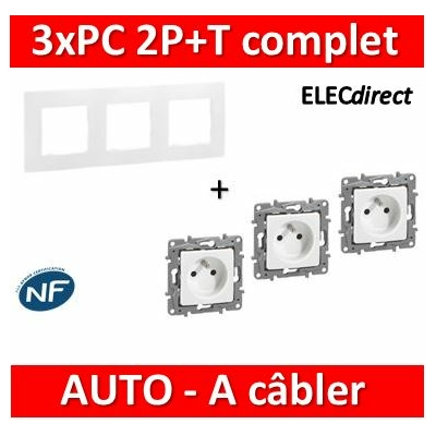 Legrand Niloé - 3 Prises de courant 2P+T 16A +  plaque - Blanc - 664735x3+665003