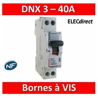 Legrand - Disjoncteur DNX³ 4500 - vis/vis - U+N 230V~ 40A - 6kA - courbe C - 1 module - 406873