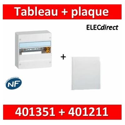 Legrand - Plaque de fond pour coffret ou rehausse 13M - 1R + tableau Legrand 13M - 401351+401211