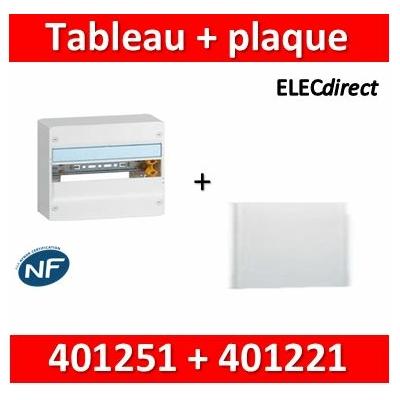 Legrand - Plaque de fond pour coffret ou rehausse 18M - 1R + tableau 18M - 401251+401221