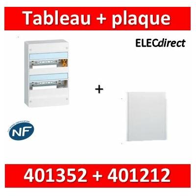 Legrand - Plaque de fond pour coffret ou rehausse 13M - 2R + tableau 26M - 401352+401212