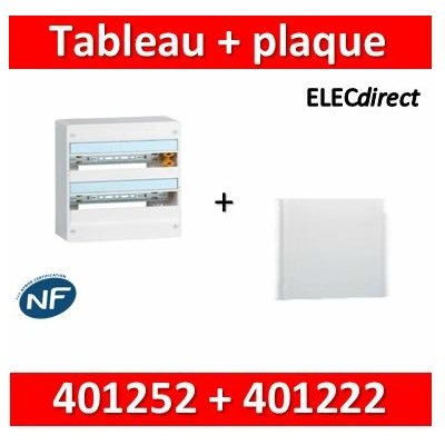Legrand - Plaque de fond pour coffret ou rehausse 18M - 2R + tableau 36M - 401252+401222