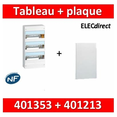 Legrand - Plaque de fond pour coffret ou rehausse 13M - 3R + tableau 39M - 401353+401213
