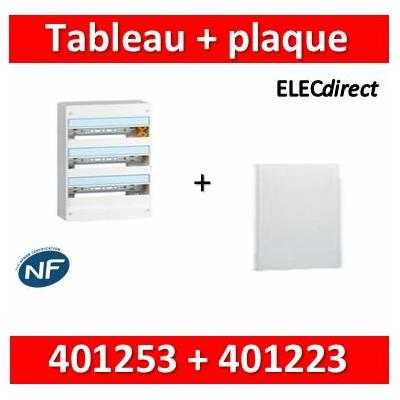 Legrand - Plaque de fond pour coffret ou rehausse 18M - 3R + tableau 54M - 401253+401223