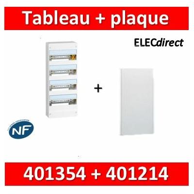 Legrand - Plaque de fond pour coffret ou rehausse 13M - 4R + tableau 52M - 401354+401214