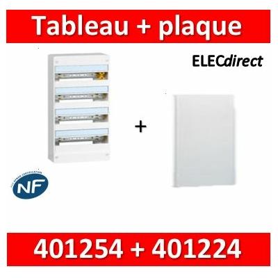 Legrand - Plaque de fond pour coffret ou rehausse 18M - 4R + tableau 72M - 401254+401224