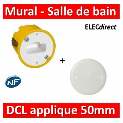 Legrand Batibox - Boîte luminaires pour applique 50mm + Couvercle IP44 - Prof. 40 - 089305+089504
