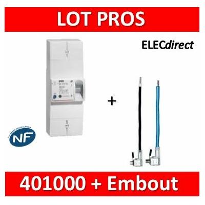 Legrand - Disjoncteur de branchement EDF 15/45A instantané + embout EDF Ph+N 60A  - 401000+embout