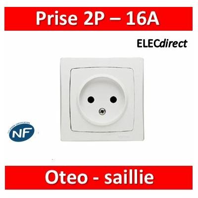 Legrand Oteo - Prise de courant 2P 16A - 230V - 086022 (sans la terre)