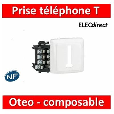 Legrand Oteo - Prise téléphone 8 contacts appareillage saillie composable - blanc - 086138