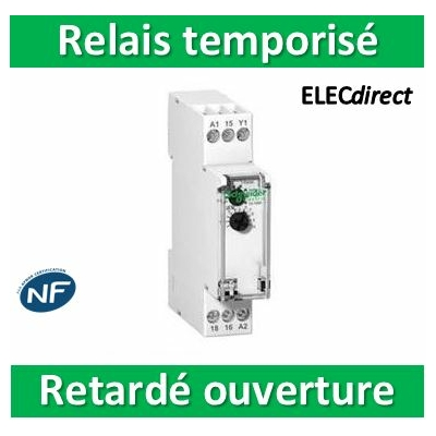 Schneider - Acti9, RTB, relais à durée temporisée sur impulsion 1OF 24...240VCA 24VCC - A9E16066