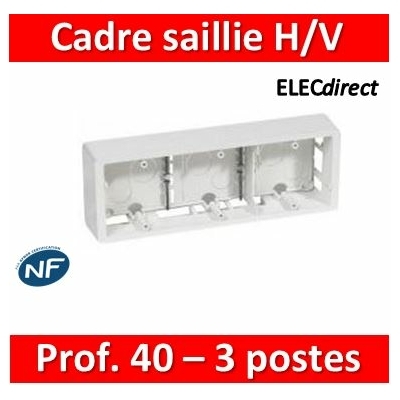 Legrand - Cadre saillie Céliane 3 postes horizontal ou vertical blanc - 080243