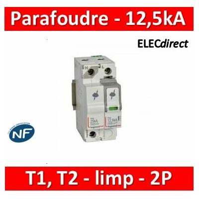 Legrand - Parafoudre  typeT1 + typeT2 Iimp 12,5kA/pôle - 1P+N - 2 modules - 412274