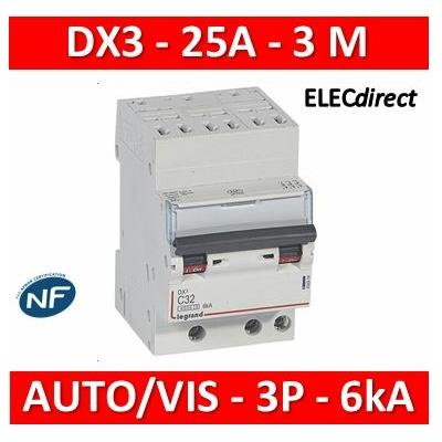 Legrand - Disjoncteur DNX³4500 6kA arrivée automatique sortie à vis - tripolaire 400V~ 25A courbe C - 406903