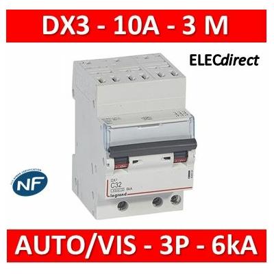 Legrand - Disjoncteur DNX³4500 6kA arrivée automatique sortie à vis - tripolaire 400V~ 10A courbe C - 406899