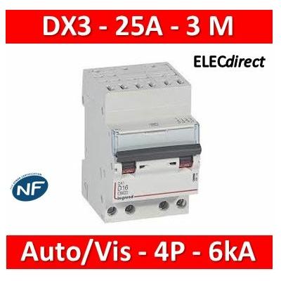Legrand - Disjoncteur DX3 - auto/vis - 4P - 400 V - 25A - 6kA - courbe C - 3M - 406921
