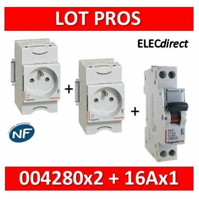 Legrand - LOT PROS - PC 2P+T 16A 220V  Modulaire x 2 + disjoncteur 16A - 004280x2 + 406774
