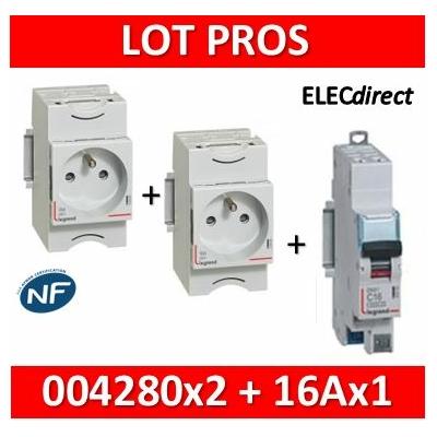 Legrand - LOT PROS - PC 2P+T 16A 220V  Modulaire x 2 + disjoncteur 16A AUTO - 004280x2 + 406783