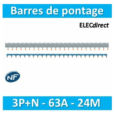 HAGER - Barres pontage 3P+N 63A 24 mod - KBN863C