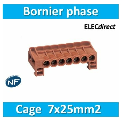 HAGER - Bornier arrivée phase cage 7X25mm² - KN07P