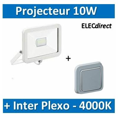 Aric - Projecteur orientable LED Wink - 10W - 4000K - Blanc + Inter Plexo Legrand encastré - 50389+069811