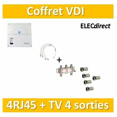 Casanova - Coffret VDI Grade 1 avec brassage - 4 RJ45 - 4 TV + 5 fiches F - TRIETG14X4