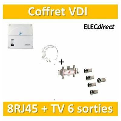 Casanova - Coffret VDI Grade 1 avec brassage - 8 RJ45 - 6 TV + 7 fiches F - TRIETG14X8