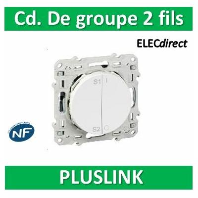Schneider Odace - Blanc, commande de groupe pour scenarios PlusLink 2 fils PlusLink - S520563