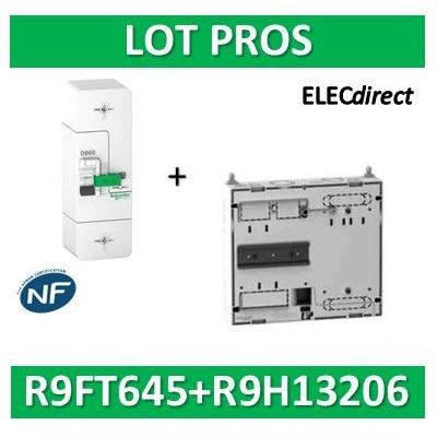 Schneider - Disjoncteur de branchement EDF 15/45A instantané + platine disjoncteur - R9FT645+R9H13206