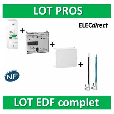 Schneider - LOT EDF - Disjoncteur EDF 15/45A + platine + habillage + porte + Embouts PH+N 60A