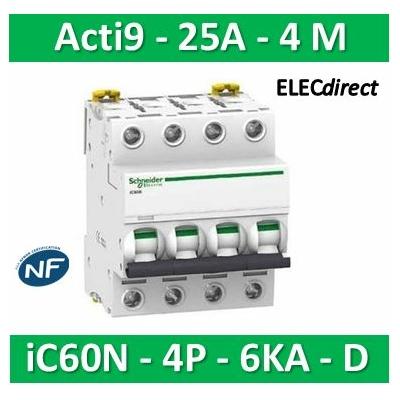 Schneider -  Acti9, iC60N disjoncteur 4P 25A courbe D - A9F75425