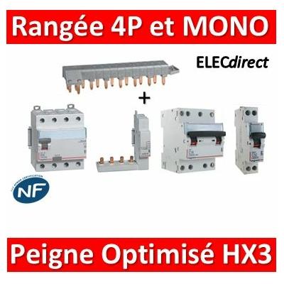 Legrand - Rangée 4P avec Dif 40A AC et Disjoncteur 4P 16A - C + DPN Mono 20A - C avec peigne optimisé HX3