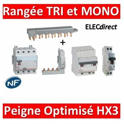 Legrand - Rangée 4P avec Dif 25A AC et Disjoncteur TRI 16A - C + DPN Mono 20A - C avec peigne optimisé HX3