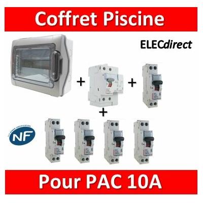 Coffret distribution piscine 18M - 1 Dif 63A-AC + 1 DPN 10A D + 1 DPN 20A + 3 DPN 10A + peignes 18Mx2