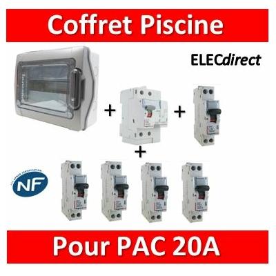 Coffret distribution piscine 18M - 1 Dif 63A-AC + 1 DPN 20A D + 1 DPN 20A + 3 DPN 10A + peignes 18Mx2