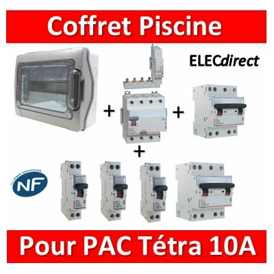 Coffret distribution piscine 18M - 1 Dif  Tétra 40A-AC + 1 Tétra 10A D + 1 Tétra 16A + 3 DPN 10A + peignes 18M HX3